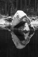 Rock Reflection, Merced River on a Snowy Day
