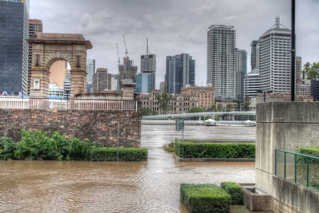 Southbank Flood Photos. Brisbane CBD from South Bank During Flood. See this Artwork on:
