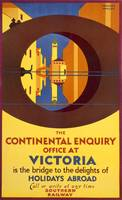 Continental Enquiry, Vintage Railway Travel Poster
