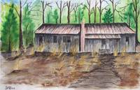 old house 2 watercolor country painting art print
