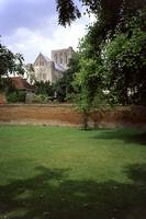Winchester Cathedral from outside the Close wall by Priscilla Turner