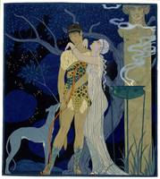 Venus and Adonis (colour litho)