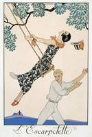 The Swing, 1923 (pochoir print) by Georges Barbier