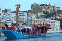 Lal Ghat and City Palace With Gangaur Boat