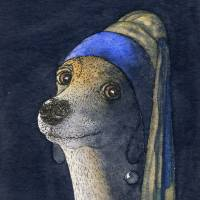 Dog with a pearl earring Art Prints & Posters by Susan Alison