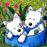 """Flowerbed Westies"" by KiniArt"