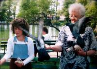 mom and niki - back when you could feed the birds