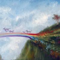 """Rainbow Bridge Crossing into Animal Heaven Violano"" by stella"