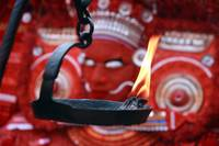 Theyyam-behind the traditional lamp
