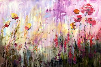 Wildflowers Bees And Butterflies Painting Ginette By Ginette Callaway