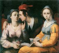 A Courting Couple and a Woman with a Songbook