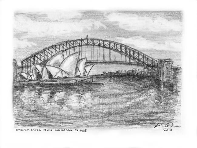 Sydney opera house harbour bridge australia by kim wainwright