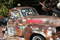 Rusted Car With Stickers