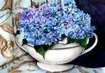 Hydrangeas in Soup Tureen