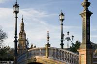 bridge over moat in Plaza De Espana Seville