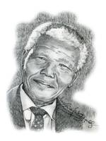 Hand Drawn Portrait of Nelson Mandela by Norhashimah Erpelding