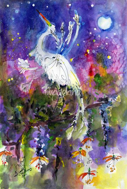 Egret Moonlight Dreams Watercolor by Ginette