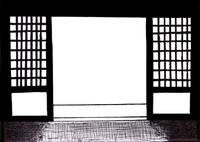 Zen Sumi Doorway Black Ink on White Canvas