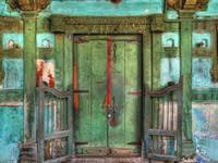 Ancient Green Doorway Pij, Nadiad Gujarat, India