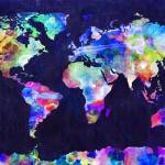 """""""World Map Urban Watercolor"""" by ModernArtPrints"""