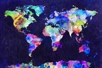 World Map Urban Watercolor