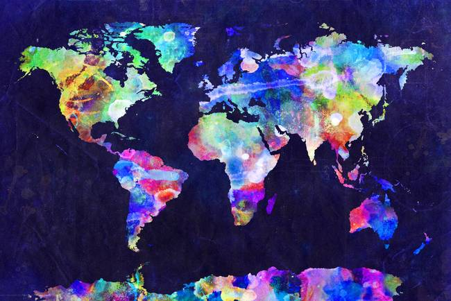 World map urban watercolor by michael tompsett gumiabroncs Choice Image