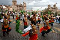 INC workers dance in Cusco parade