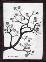 Zen Sumi Bush Original Black Ink on White Canvas
