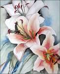 Pink Tiger Lily Watercolor Painting Original Art