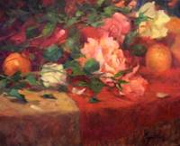 Red and Cream Roses, oil painting