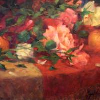 Red and Cream Roses, oil painting Art Prints & Posters by margaret Aycock