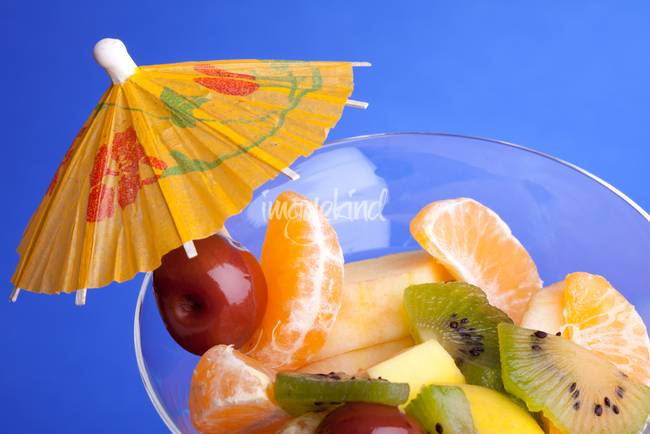 Fruit Salad 0n Blue Background