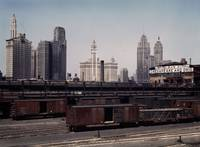 Chicago Skyline and Illinois Central 1943 by WorldWide Archive
