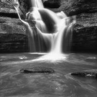 March at Cedar Falls in Black and White by Jim Crotty