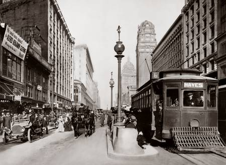 Market and Powell, Hayes Trolley-Sepia