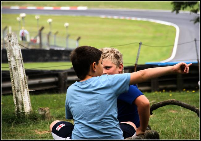 Kids at Brands Hatch Race Circuit, England