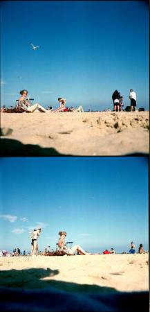 Beach with toy camera