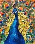 Peacock Oil Painting by Ginette Callaway