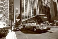 Chicago Bus and Buildings 2010 Sepia