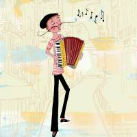 Accordion Melodies Art Prints & Posters by Sara Jane Franklin