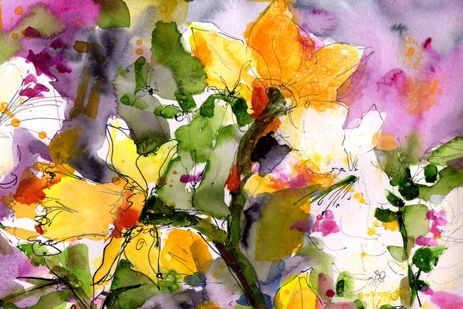 Abstract Spring Symphony Wide Watercolor By Ginett By Ginette Callaway