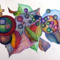 leaves and circles by Louise Dionne