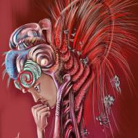 Red Thinker Art Prints & Posters by Leopard Cana