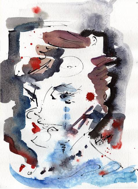 Abstract Face Gray Blue Watercolor Ink By Gine By Ginette Callaway