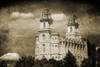Manti Temple great light and clouds sepia