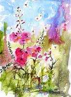 Pink Lavatera & Bees Watercolor & Ink by Ginette