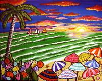 Beach Sunset Folk Art