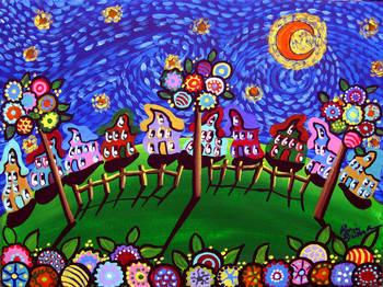 Whimsical Trees Van Gogh Sky By Renie Britenbucher
