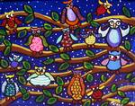 Tree Full of Owls Folk Art