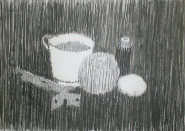 Still-life charcoal pencil line art